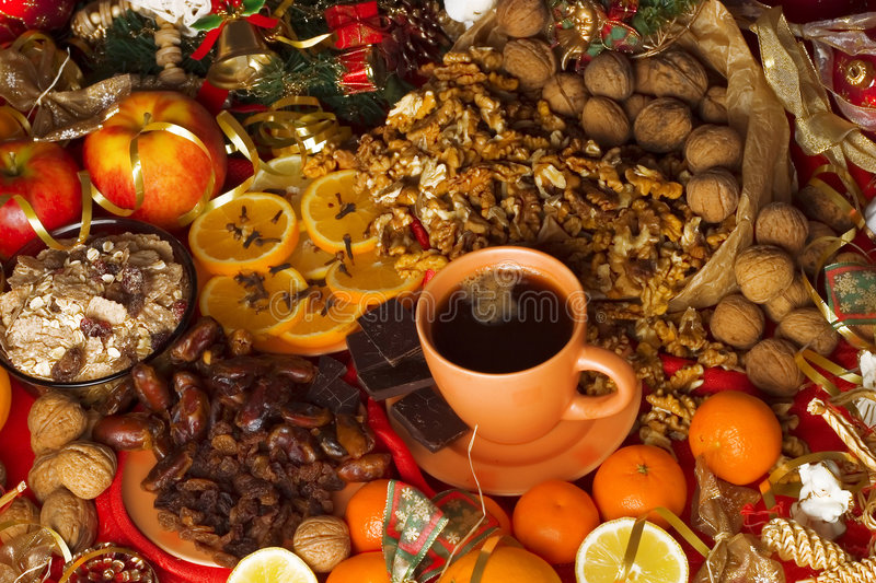 Download Christmas background stock image. Image of walnuts, present - 5512319