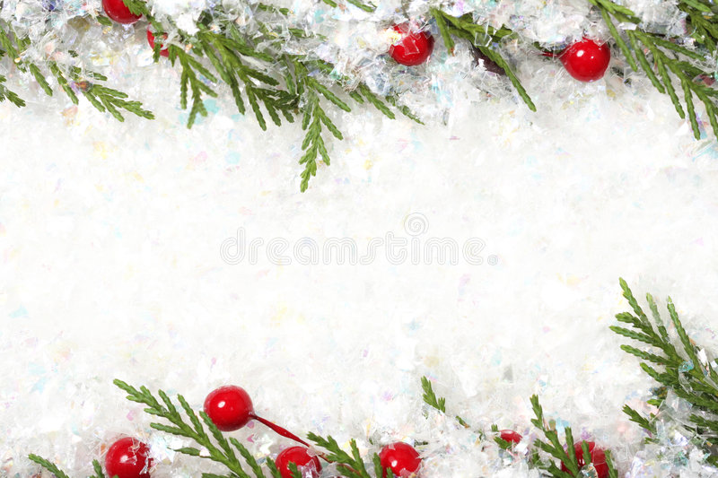 Christmas background. Snowy Christmas frame or background stock photo