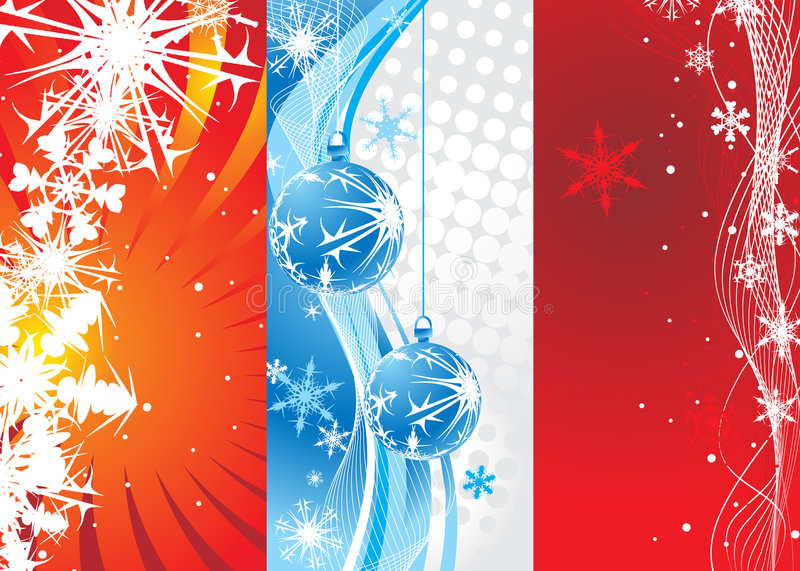 Christmas background. Abstract wave background with Christmas toys & snowflakes . Vector illustration royalty free illustration
