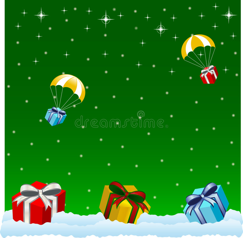 Christmas background. Present box with ribbon on winter background vector illustration