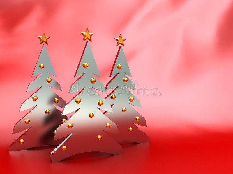 Christmas background. Abstract christmas background with trees over red silk vector illustration