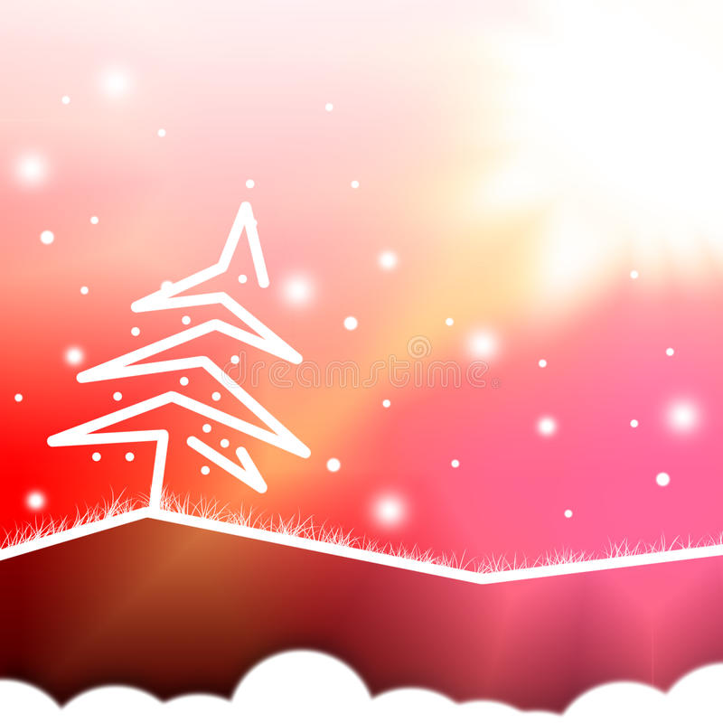 Christmas background. Abstract christmas white tree,red background royalty free illustration