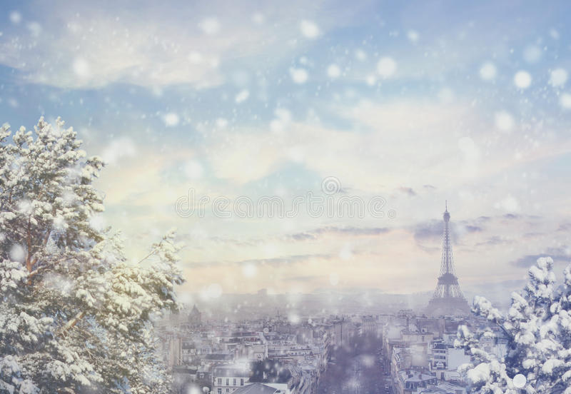 Christmas background: Aerial view of Paris cityscape with Eiffel tower at winter sunset in France. Vintage colored picture. X-mas, Business, Love and travel stock images