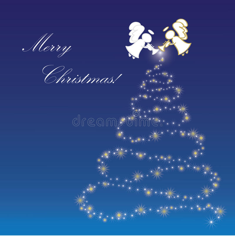 Christmas background with Angels. Blue Christmas background with Angels and Christmas tree royalty free illustration