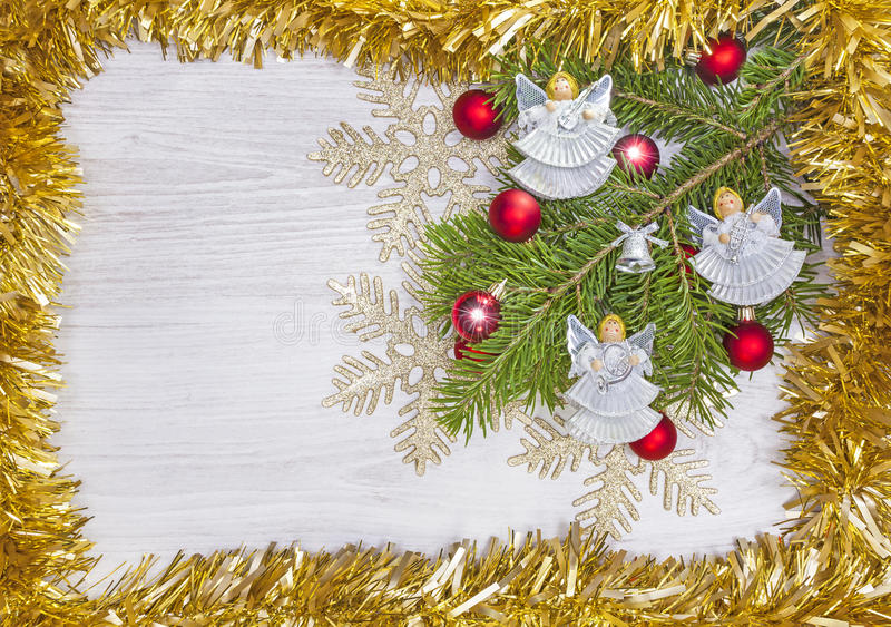 Christmas background with angels, decoration on a wooden board. Christmas background with angels, decoration on a wooden board stock images