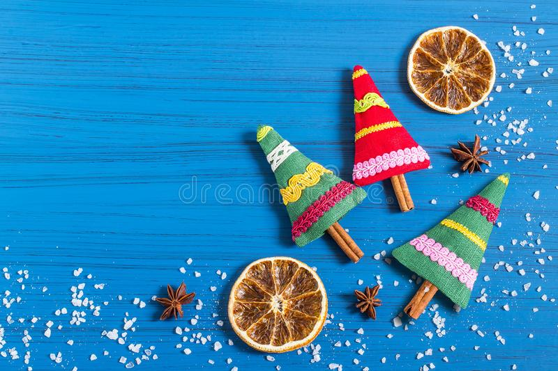 Christmas background with aromatic Christmas tree sachet royalty free stock images