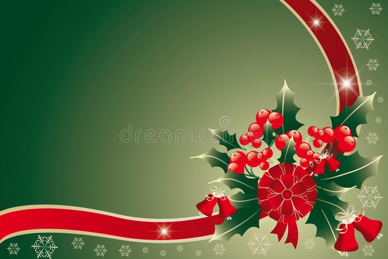 Christmas background. Background with Christmas arrangement of holly held together by red-golden ribbon - illustration royalty free illustration