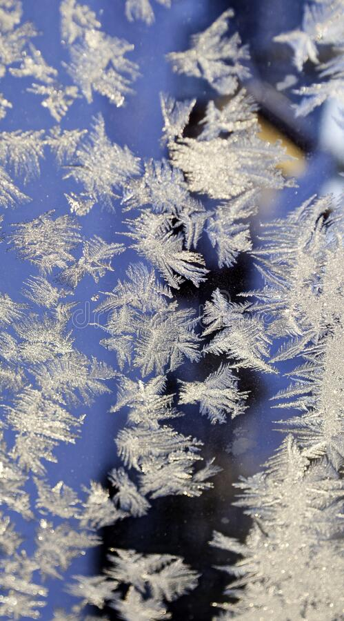 Christmas background, frost on window royalty free stock photos