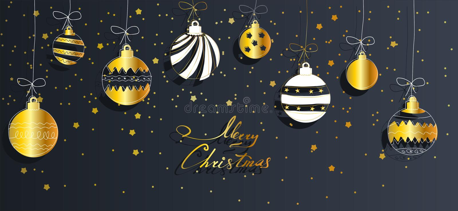 Christmas background with balls and strars royalty free stock photo