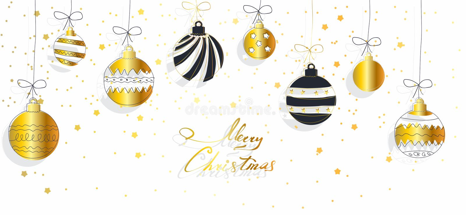 Christmas background with balls and strars royalty free stock photography