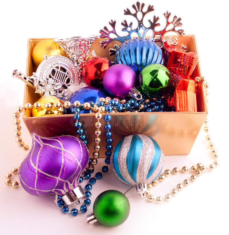 Download Christmas Background With Basket Full Of Color Balls Stock Photo - Image: 35846812