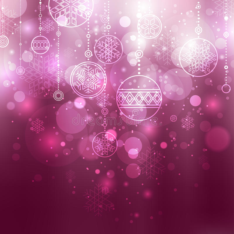 Christmas background with baubles. Shining lilac christmas background with baubles and snowflakes royalty free illustration