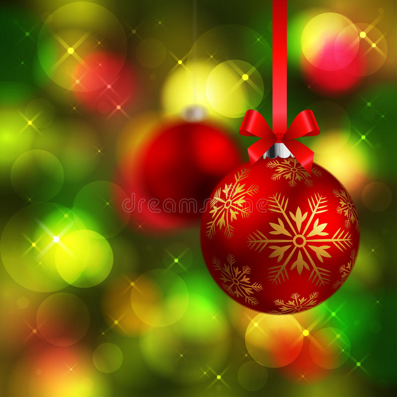 Christmas background with baubles. Christmas shining red baubles on green fir tree background royalty free illustration