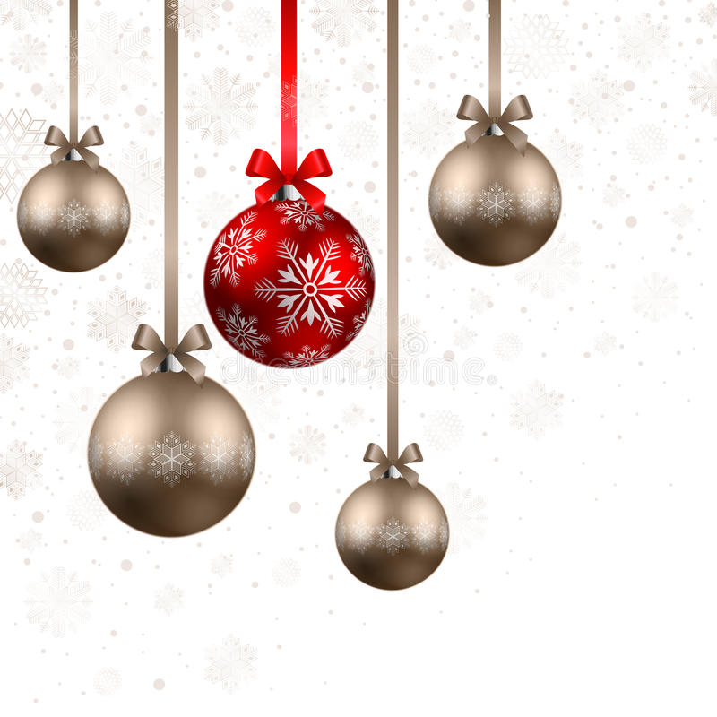 Christmas background with baubles. Christmas shining red and bronze baubles on white background vector illustration