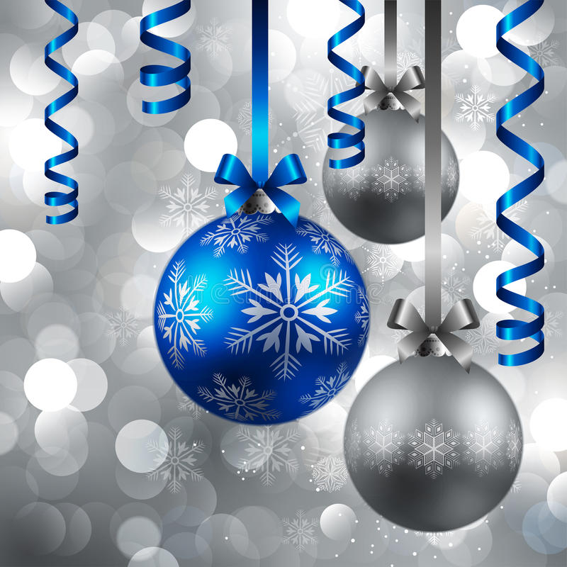 Christmas background with baubles. Christmas blue and silver baubles on shining silver background royalty free illustration