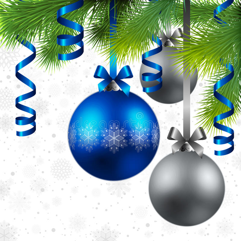Christmas background with baubles. Christmas background with blue and silver baubles stock illustration
