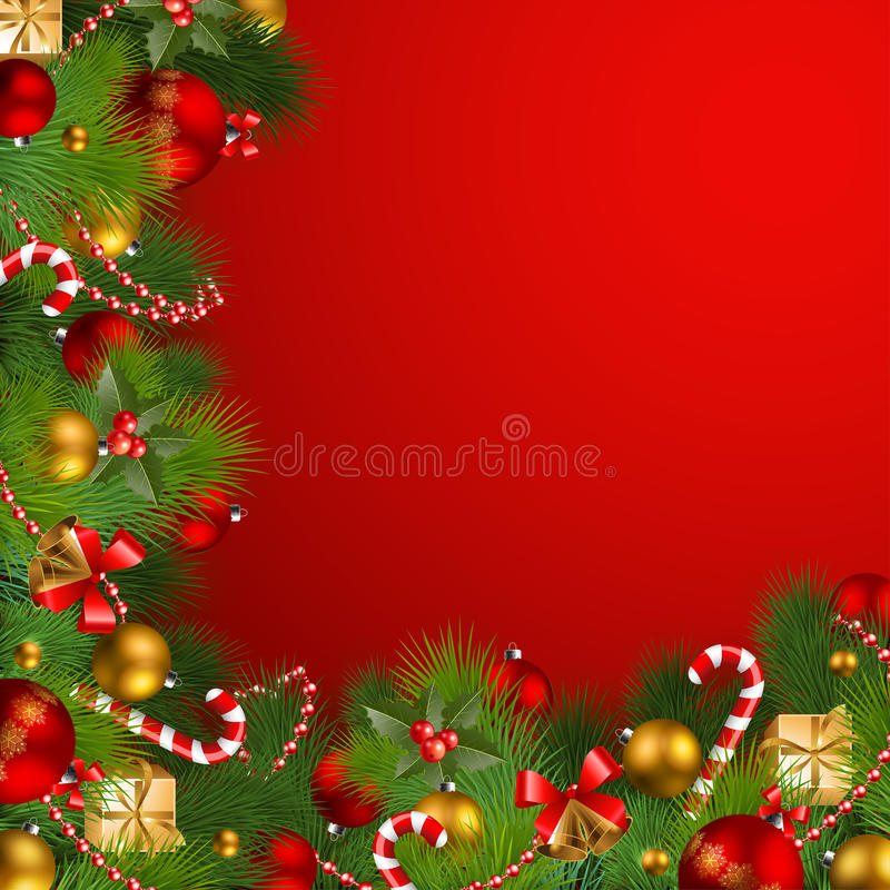 Christmas background with baubles. Christmas background with fir, red and golden baubles stock illustration
