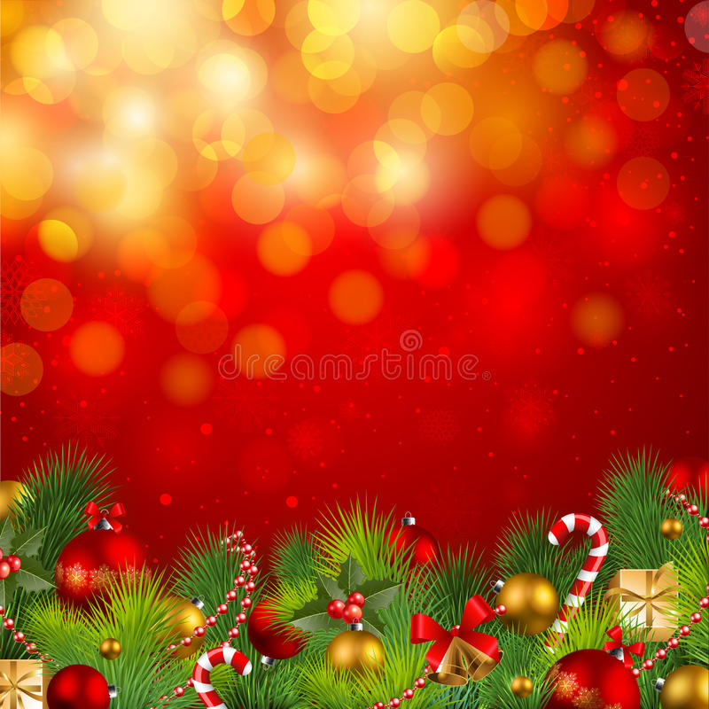 Christmas background with baubles. Christmas background with fir, red and golden baubles royalty free illustration