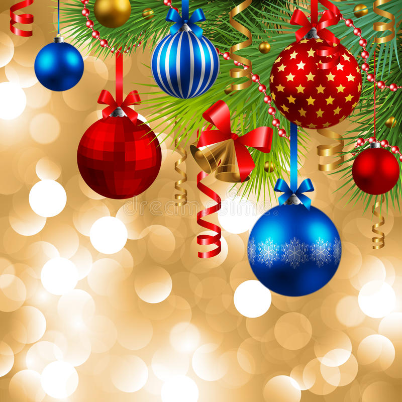 Christmas background with baubles. Christmas background with fir, red, blue and golden baubles royalty free illustration