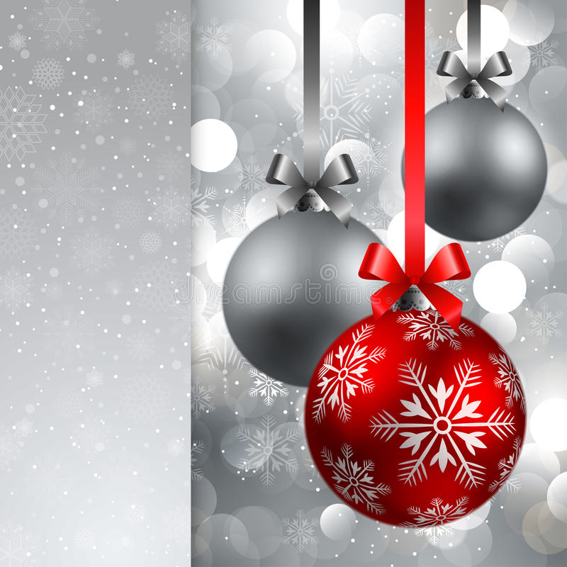 Christmas background with baubles. Christmas red and silver baubles on shining silver background vector illustration