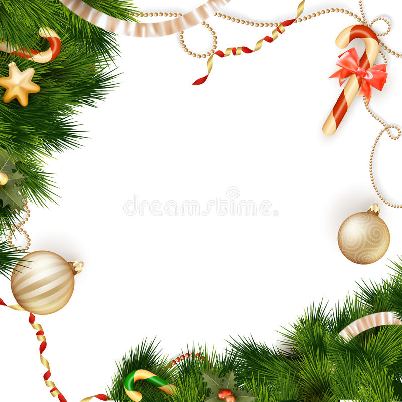 Christmas background with baubles. EPS 10. Christmas background with baubles and christmas tree. EPS 10 vector file included stock illustration