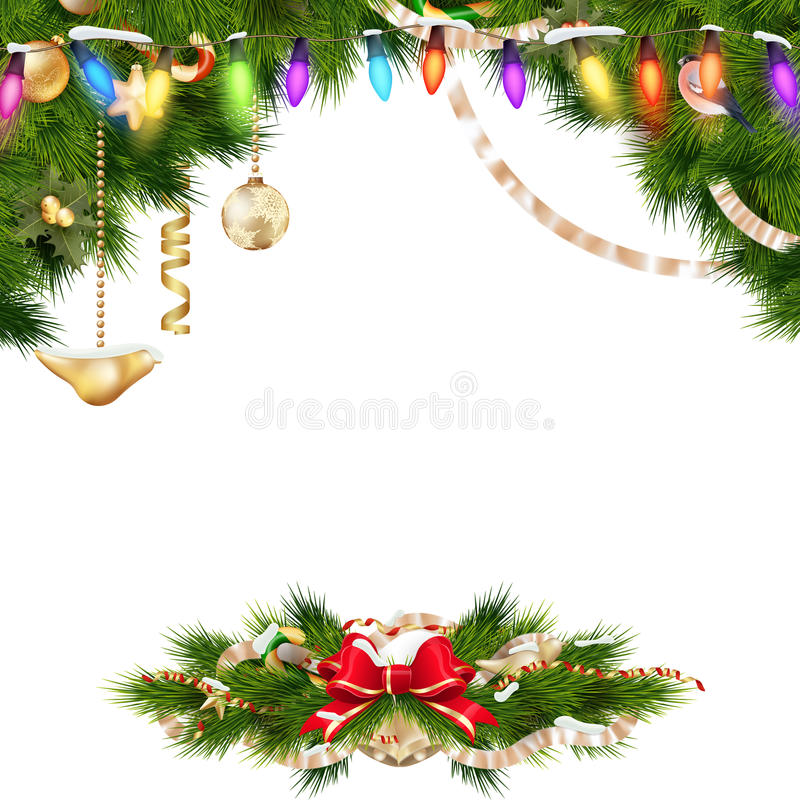 Christmas background with baubles. EPS 10. Christmas background with baubles and christmas tree. EPS 10 vector file included royalty free illustration