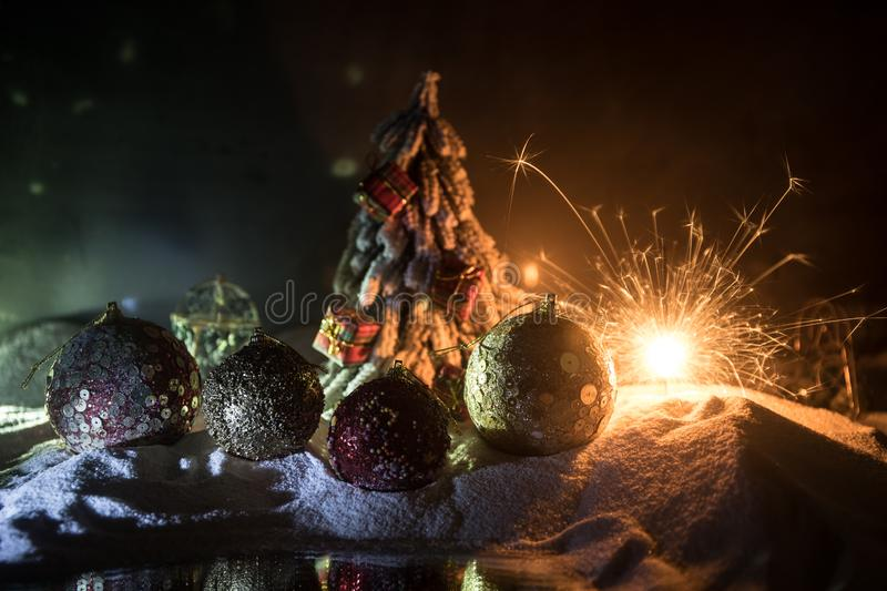 Christmas background with baubles, on snow, free space for text. Christmas decoration. Winter holidays concept. Christmas background with baubles, on snow, free royalty free stock photo