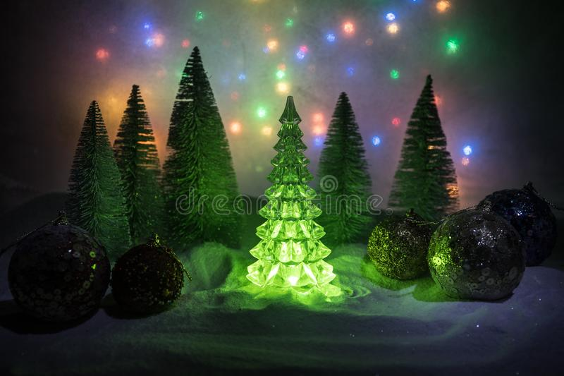 Christmas background with baubles, on snow, free space for text. Christmas decoration. Winter holidays concept. Christmas background with baubles, on snow, free royalty free stock images