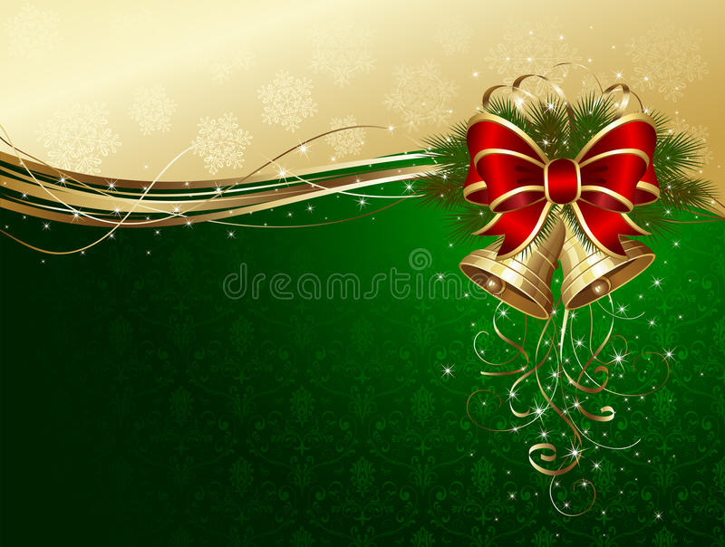 Christmas background with bells and decorative bow stock illustration