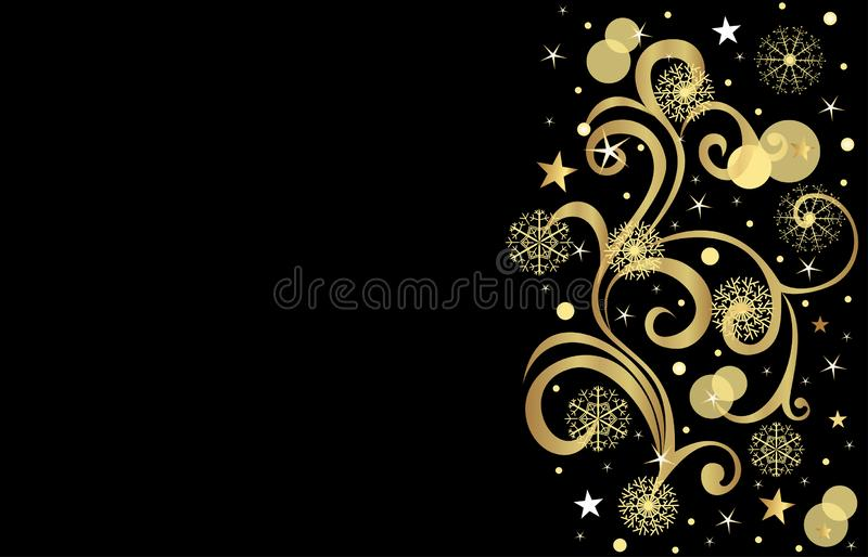 Christmas background on black golden snowflakes, beautiful pattern, place for an inscription vector illustration