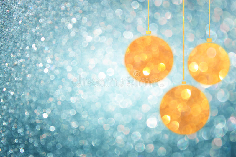 Christmas background with blue bokeh lights and christmas balls. Christmas background with blue lights and christmas balls royalty free stock photo
