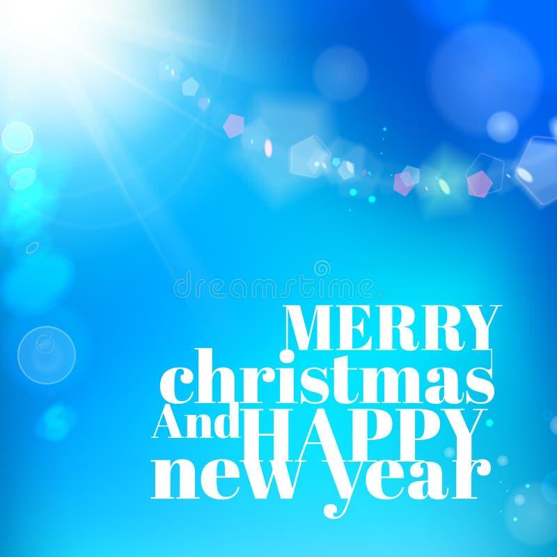 Christmas Background On Blue Luminous Rays. Stock Images