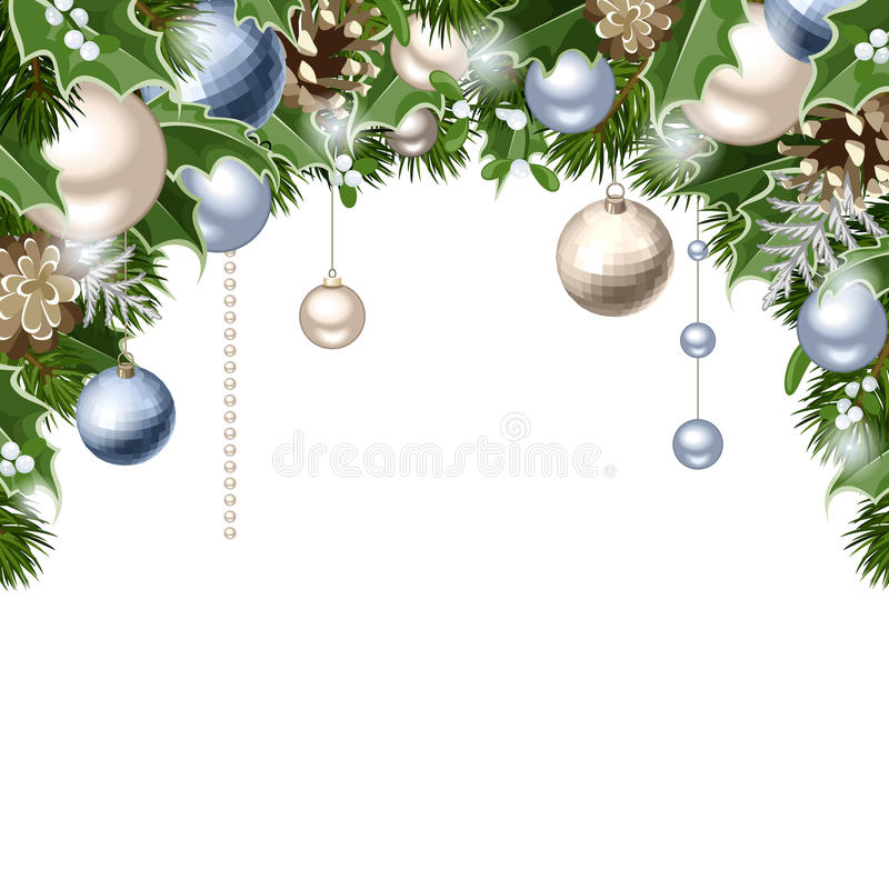 Christmas background with blue and silver balls, cones, fir branches, holly and mistletoe. Vector eps-10. stock illustration