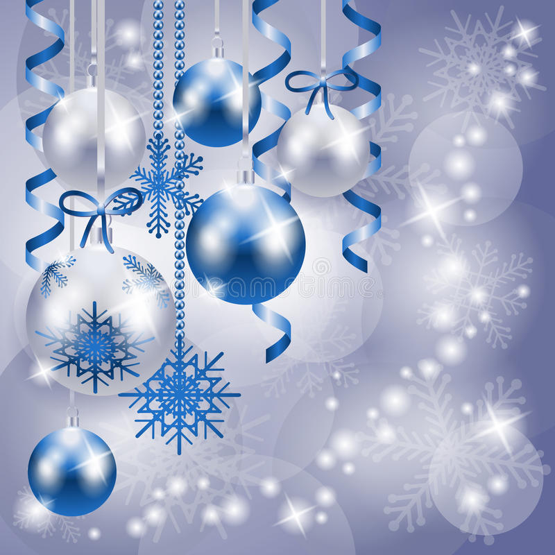 Download Christmas Background In Blue And Silver With Copy Space Stock Vector