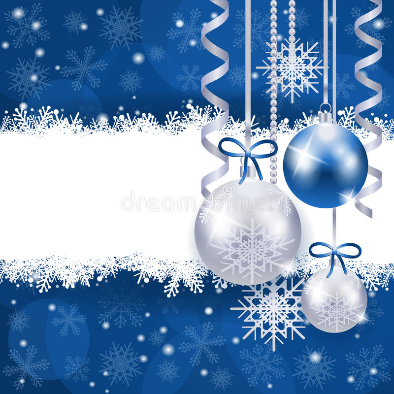 Christmas background in blue and silver with copy space. Illustration stock illustration