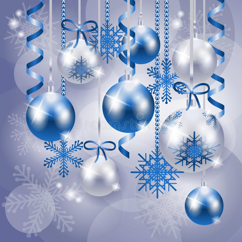 Download Christmas Background In Blue And Silver Stock Vector