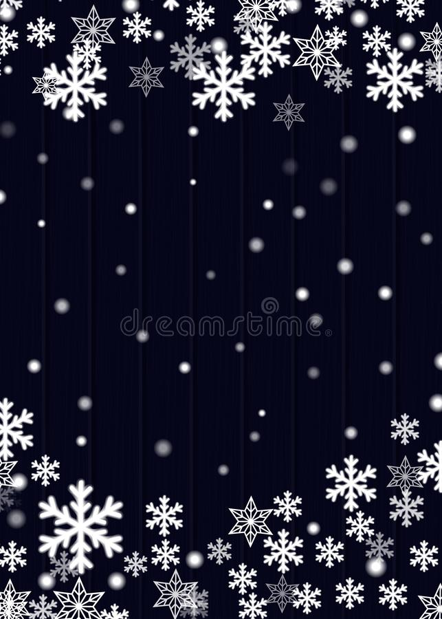 Christmas background, blue wooden plank board with blurred white snowflakes stars and snow balls, vector eps10 royalty free illustration