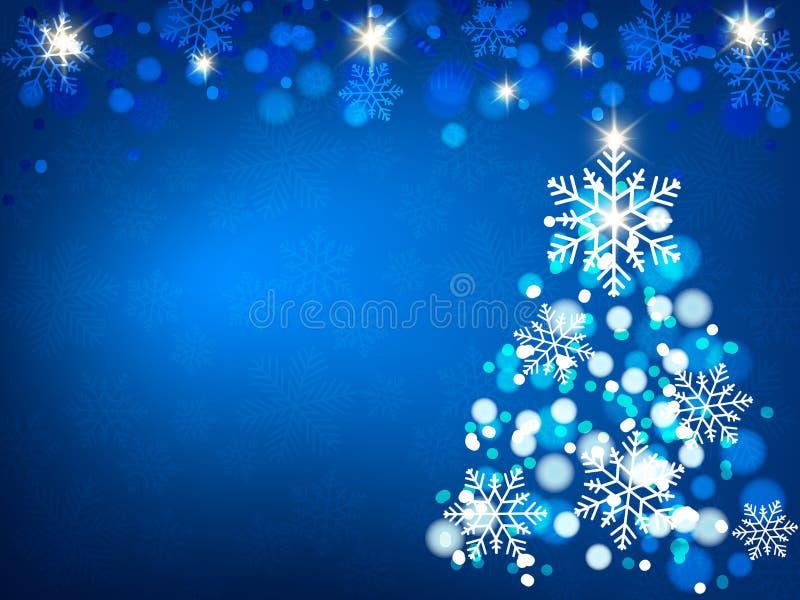 Christmas background, Bokeh snowflakes , blue background, red ball, Christmas tree backgrounred stock photo