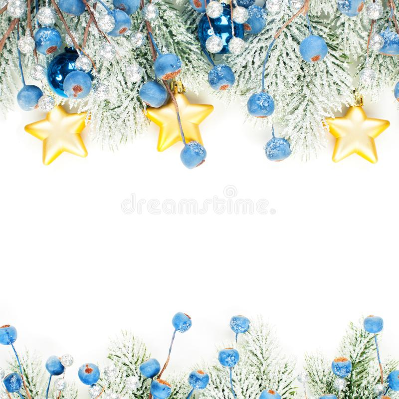 Christmas background border composition isolated on white. Xmas card with snowy Xmas tree twig, blue berries and golden stars. Garland royalty free stock photo