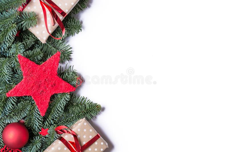 Christmas background border on the left side with fir branches a stock photo