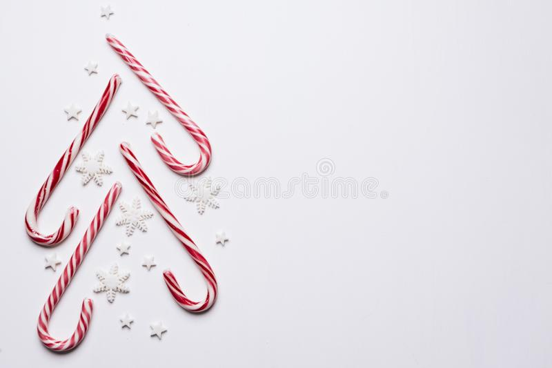 Christmas background with candies and copy space royalty free stock photos