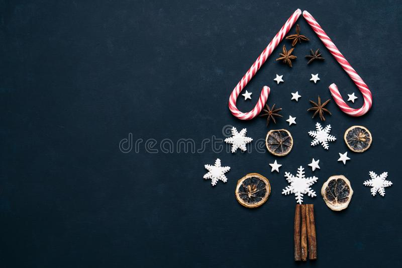 Christmas background with candies and spices royalty free stock images