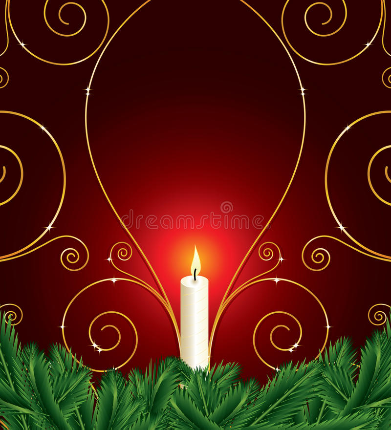 Christmas background with candle and pine leaves royalty free illustration