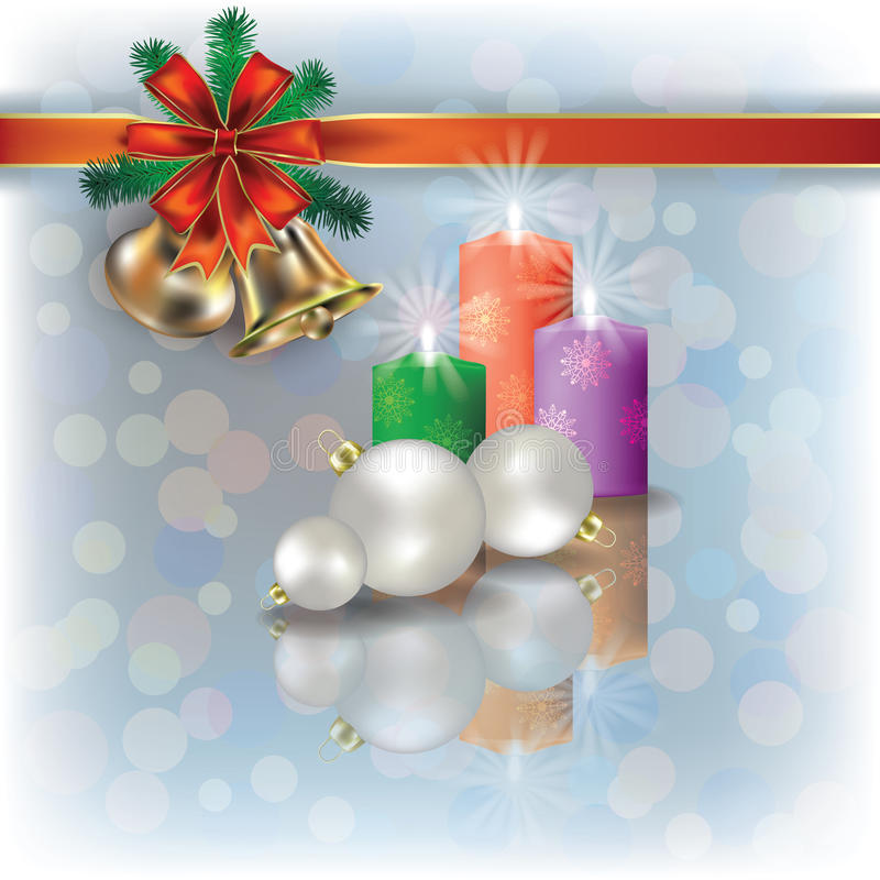 Christmas background with candles on white stock illustration