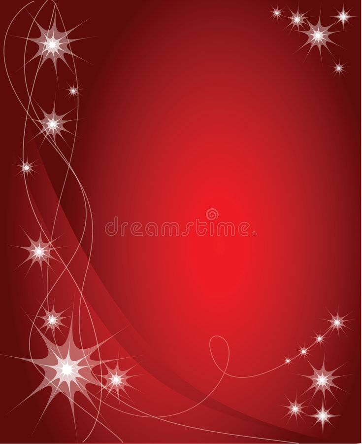 Christmas background / card. Red christmas background / card with white stars stock illustration