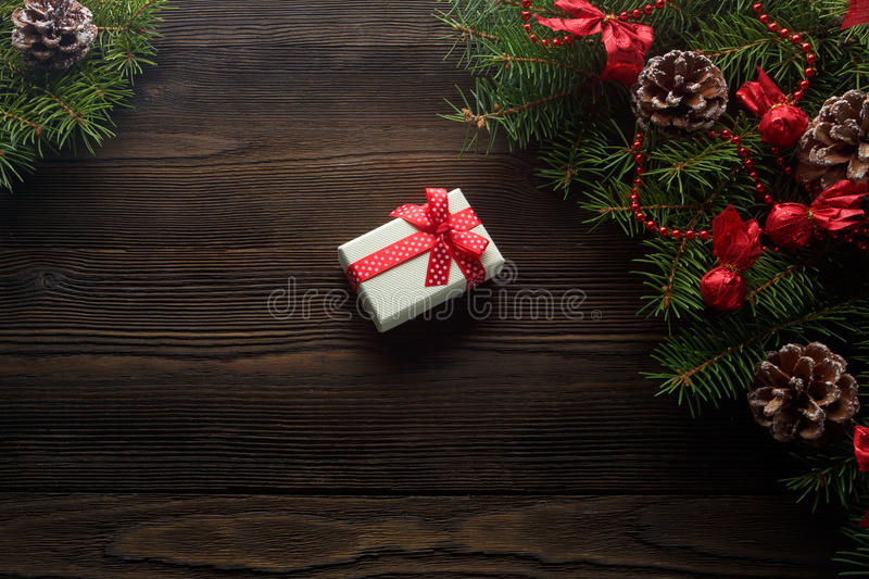 Christmas background cardboard box with a red bow stock photos