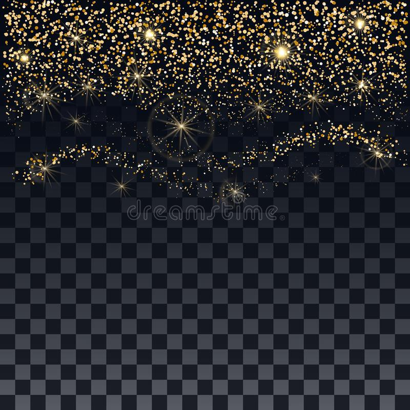 Christmas background. Chaotic falling shimmering particles. Brilliant golden confetti and stars on a transparent background. royalty free illustration