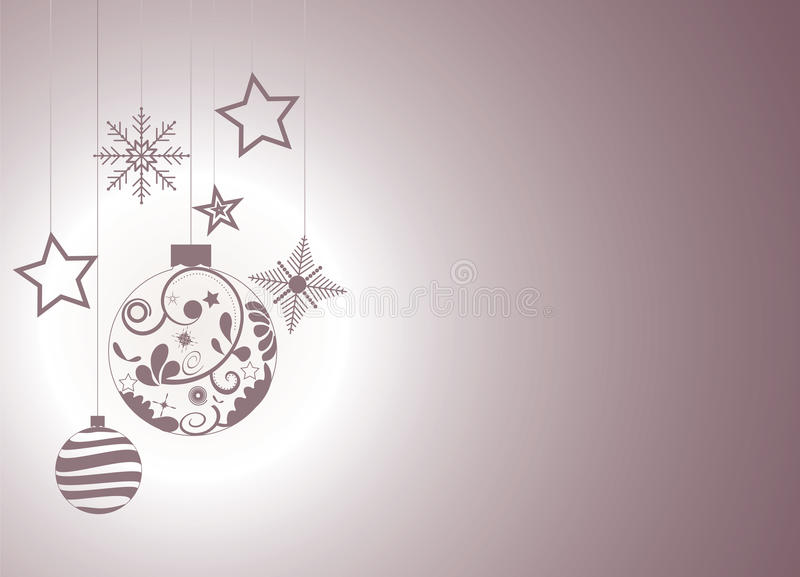 Christmas background with Christmas ornaments, snowflakes and stars stock illustration