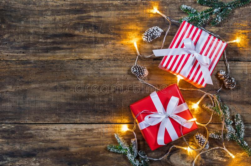 Christmas gift boxes with lights and decoration. stock photo