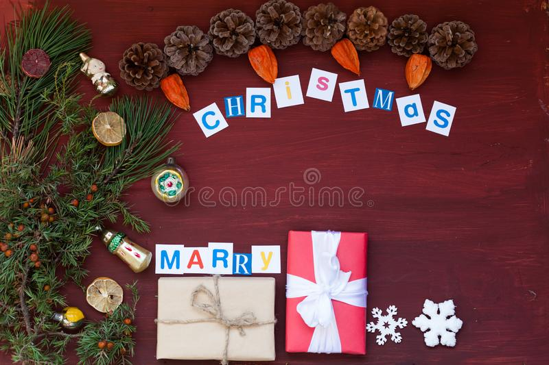 Christmas background Christmas tree holiday new year gifts inscription stock photography